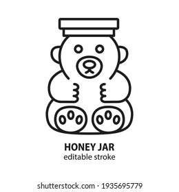 Honey in jar in form of bear vector icon. Editable stroke.