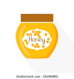 Honey jar icon. Isolated vector illustration