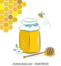 Honey jar isolated with honey, honeycomb and flying bee. Honey in glass jar and honey dipper Vector Illustration. Cartoon flat style.