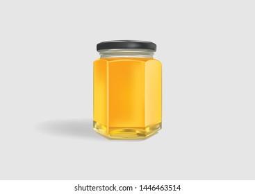 Honey Jar Mockup Realistic Vector Illustration
