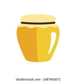 Honey jar on white background. Vector illustration in trendy flat style. EPS 10.
