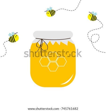 edc120338b100 Flying bee insect dash line set. Paper top and bow. Yellow healthy food.  Isolated. White background. Flat design. Vector illustration - Vector