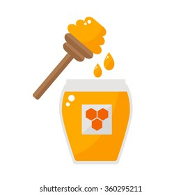 Honey jar with spoon isolated icon on white background. Drizzler and drops. Beekeeping product. Flat style vector illustration.