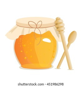 Honey jar vector. Apiary vector symbol. Bee, honey, honey bank, honey pot comb. Honey natural healthy food production. Honey liquid bank isolated. Beehive and wax. Sticky ingredient dessert.