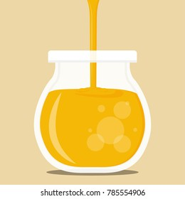 Honey jar vector. free space for text. wallpaper. background.
