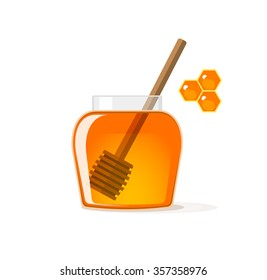 Honey jar with wooden dipper vector illustration, glass pot with yellow syrup flat icon, honeycombs cells modern design isolated on white background