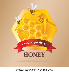 Honey Label with bees
