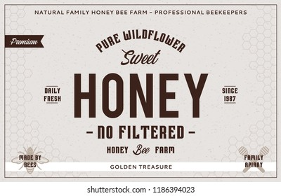 Honey label and packaging design template for apiary and beekeeping  products, banding and identity. Vector honey illustration.
