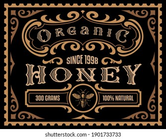 A honey label in retro style, this design can be used as a template for a honey package