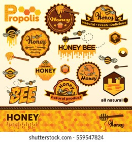 Honey label set template. Stickers and symbols