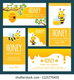 Honey labels. Banners or cards design template with illustrations of bees and honey. Honey bee, natural yellow sweet, banner with organic tasty honey vector