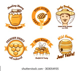 Honey labels and beekeeping logo. Food sweet, insect and cell, honeycomb and beeswax, comb and wax. Vector illustration