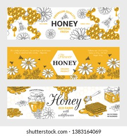 Honey labels. Honeycomb and bees vintage sketch background, hand drawn organic food retro design. Vector sweet nature organic honey graphic banners set