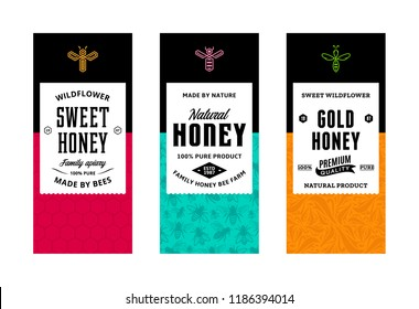 Honey labels in modern style. Logo and packaging design templates for apiary and beekeeping  products, branding and identity. Vector honey illustration and patterns.