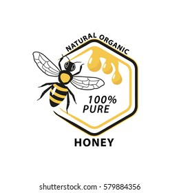 Honey logo with bee and hexagon