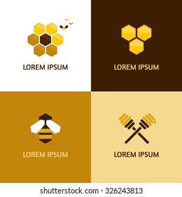 Honey logotypes vector set
