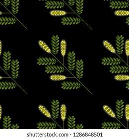 Honey Mesquite Branch. Prosopis glandulosa. Leaves and flowers. Vector illustration of geometric cartoon style. Seamless pattern