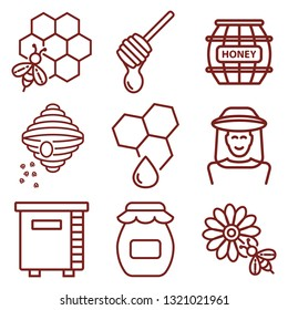 honey minimal thin line web icon set. simple vector illustration outline. concept for infographic, website or app.