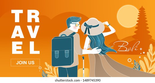 Honey moon to Bali vector flat style design illustration. Unique Travel concept with traveling couple with luggage landmarks for web banner, website page etc.