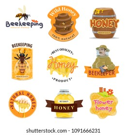 Honey natural food label set of beekeeping farm organic product. Bee, honeycomb and beehive, honey jar, dipper and barrel, beekeeper and apiary for honey packaging emblem and tag design