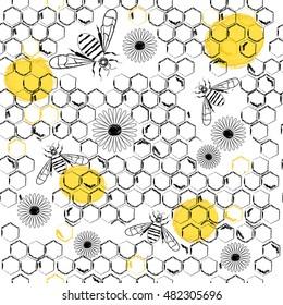 Honey pattern. Natural honey sketch background.