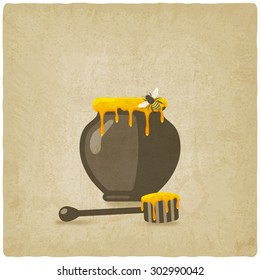honey pot with bee and wooden dipper on old background. vector illustration - eps 10