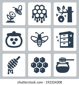 Honey related vector icons set