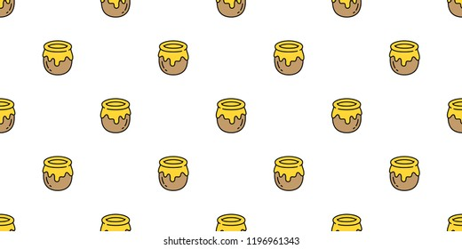 honey seamless pattern vector bear bee polar bear food bakery bake jam scarf isolated illustration tail background wallpaper