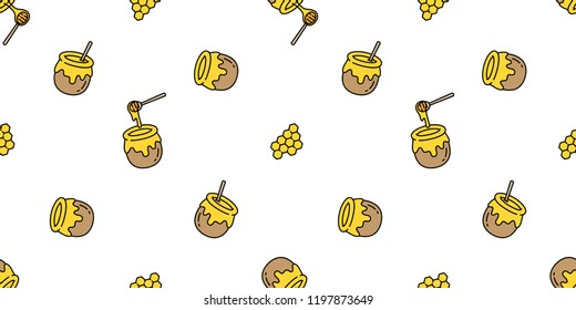 honey seamless pattern vector bear bee polar bear bakery bake jam food scarf isolated illustration tail background wallpaper