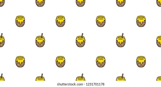 honey seamless pattern vector bear bee polar bear bakery bake jam food scarf isolated cartoon illustration tail background repeat wallpaper