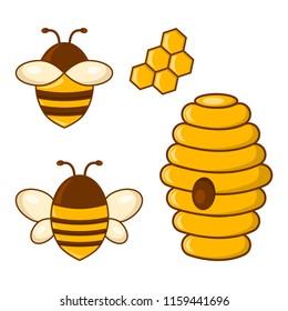 Honey Set Bees Honeycombs Beehive Vector Illustration