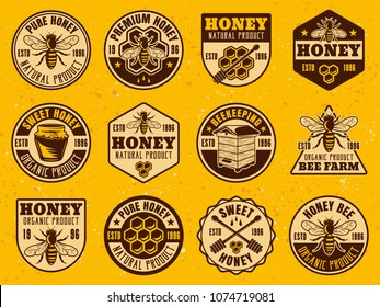 Honey set of colored bright badges, stickers, emblems, labels on yellow background with textures vector illustration