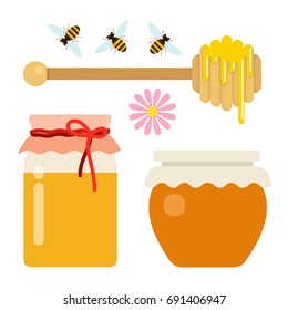Honey set of two cans of honey, a honey spoon with honey drops and bees vector flat material design isolated on white
