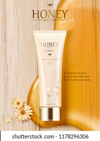 Honey skin care ads with golden color syrup and plastic tube in 3d illustration, flat lay