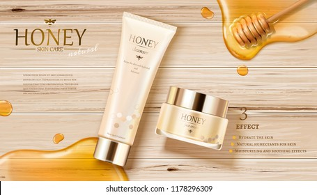 Honey skin care ads with golden color syrup and dipper on wooden table in 3d illustration, flat lay