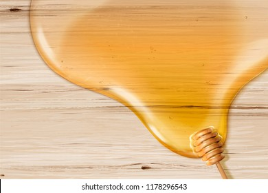 Honey syrup and dipper on wooden grain table in 3d illustration, flat lay background with copy space