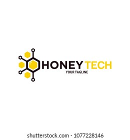 honey tech logo design template