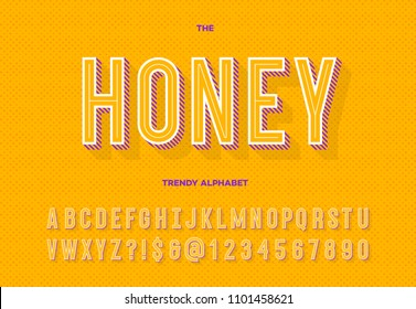 Honey trendy alphabet. Modern typography sans serif style typeface for party poster, printing on fabric, t shirt, promotion, decoration, stamp, label, special offer. Cool trendy font. Vector 10 eps