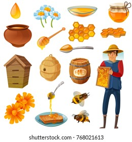 Honey in various containers cartoon set including beekeeper with honeycombs, bees, hives, droplet, flowers isolated vector illustration