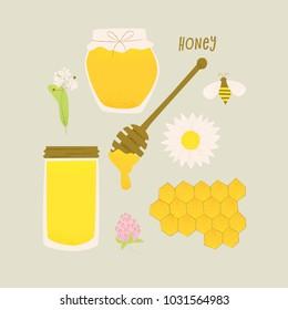 Honey vector design, honey in jars, honeycomb and bee