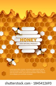 Honey vector poster template. Paper cut craft style honeycombs with flowing sweet organic honey and honeybees. Healthy natural product ad.