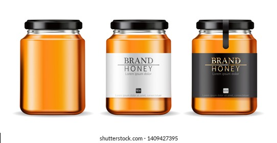 Honey Vector realistic mock up. Product placement label design. Detailed 3d illustration