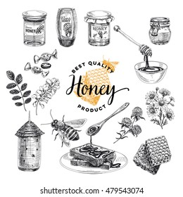 Honey vector set. Beekeeping illustrations in sketch style. Hand drawn design elements.