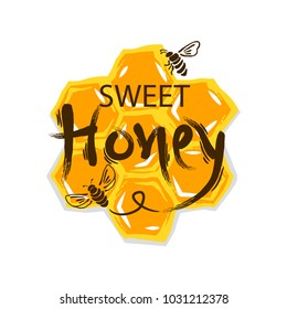 Honey vintage label isolated on white background.Vector illustration.