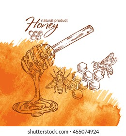 Honey watercolor background with a bee and honeycomb, hand drawn