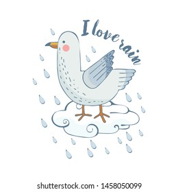 Honey, a white gull is sitting on a cloud. It is raining. Vector illustration.
