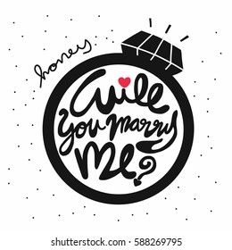 Honey will you marry me word in ring cartoon illustration on white background