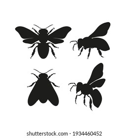 Honeybee silhouettes clipart collection. Bee black shape vector illustration set isolated on white background. Detailed decorative beekeeping logotype design elements.