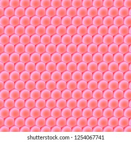 Honeycomb background on the theme of the color of the year 2019 - Living Coral. Vector illustration of geometric texture. Seamless hexagons pattern for web, print, wallpaper, textile
