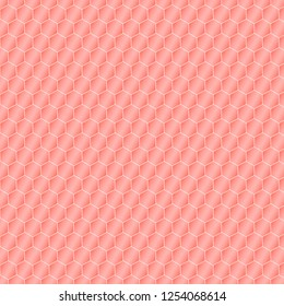 Honeycomb background on the theme of the color of the year 2019 - Living Coral. Vector illustration of geometric texture. Seamless hexagons pattern for web, print, wallpaper, fashion fabric